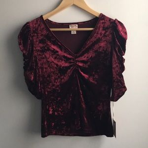 NWT wine red velvet princess sleeve ruched top